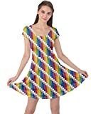 CowCow Womens Colorful Colored Rainbow Pencils Pattern Short Sleeve Dress, Colorful - M