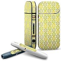 IQOS 2.4 plus 専用スキンシール COMPLETE アイコス 全面セット サイド ボタン デコ ユニーク 花 フラワー 黄色 イエロー 模様 007817