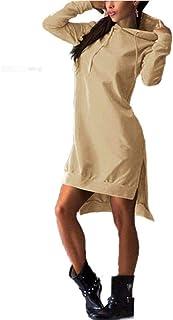 Cárdigans Jerséis Mujeres Bolsillos suéter Casual Sudaderas con Capucha del chándal de Las Mujeres Hoodies Mujer Vestido D...