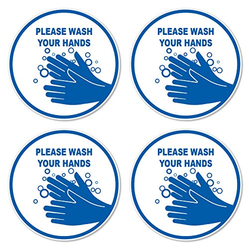 dealzEpic - Please Wash Your Hands Sign Sticker - Self Adhesive Peel and Stick Waterproof Warning Vinyl Decal - 3.94 inches in Diameter | Pack of 4 Pcs