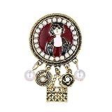 GYZX Antiguo Color Oro esmaltado Foto Marco de Fotos e imitación Perlas Vintage Broche Pins joyería de Traje Femenino