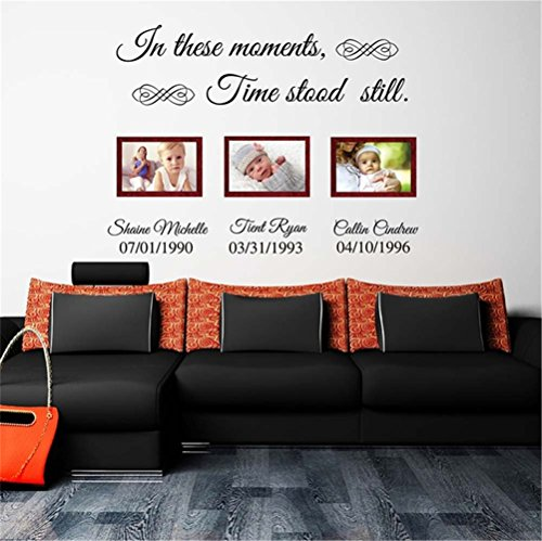 Vinyl Wall Decal Quote Home Decor in These Moments time Stood Still Personalized Name with Date for Living Room