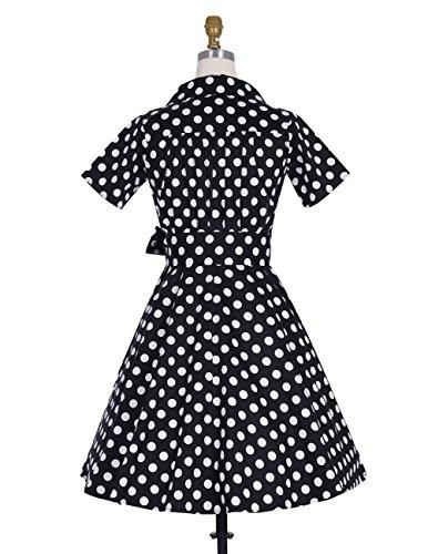 Dresstells Rockabilly Kleid 1950er Retro Polka Dots Kurz Faltenrock Petticoat Cocktailkleid Chocolate Dot XL - 3
