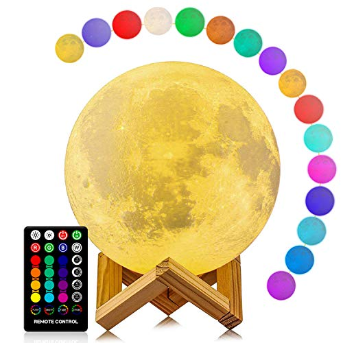 Moon Lamp, LOGROTATE 16 Colors LED Night Light with Stand Timing Setting, Kids Moon Light with Remote Touch Control Dimmable USB Recharge for Kids Lover Birthday Christmas Gifts (5.98 Inch)