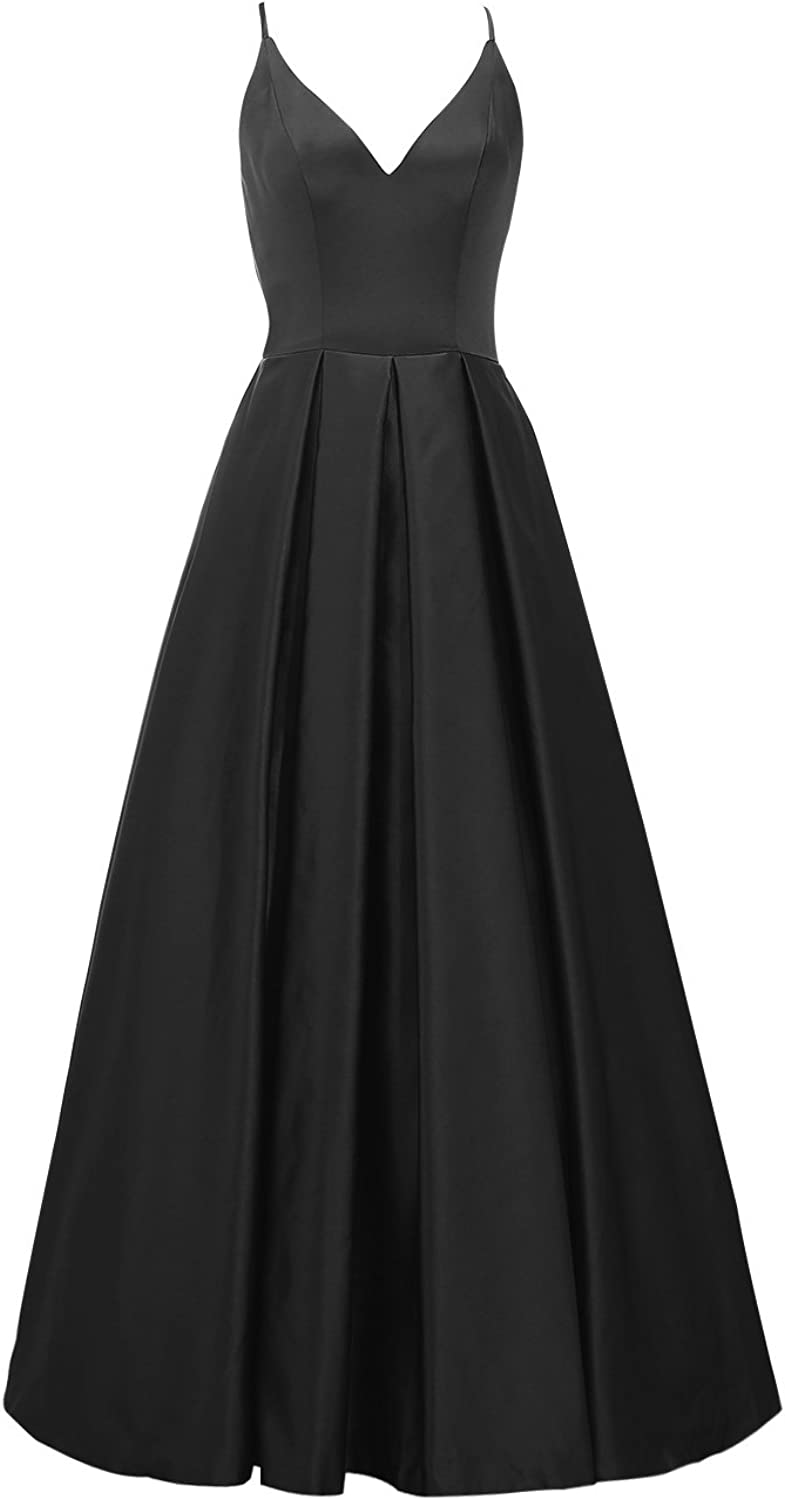 ALAGIRLS Women Long Satin Prom Evening Dresses Spaghetti Straps V Neck Gowns