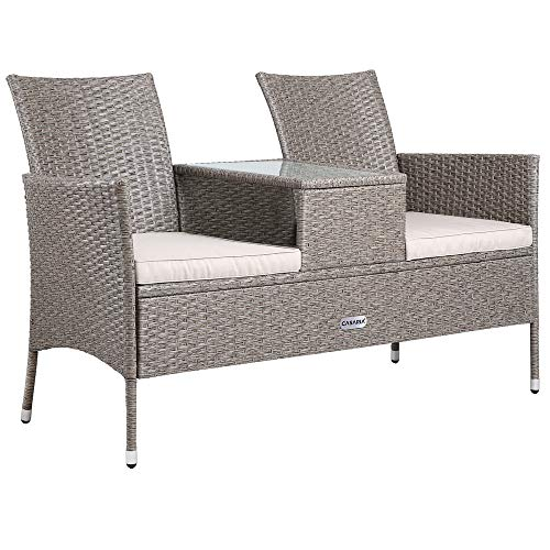 Casaria Poly Rattan Bench Love Seat Chair Outdoor Balcony Patio Garden Comofrtable Cushion Wicker Weather-resistant