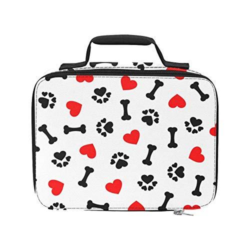 Animal Dog Paw Print Bones Red Heart - Bolsa de picnic aislada a prueba de fugas - Enfriador de picnic a...