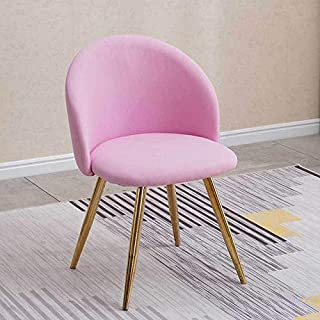 Chairlxy Sillas de Comedor, sillas de Madera Comedor Silla tapizada sillones con piernas robustas de Madera para Cocina, Comedor, Dormitorio, Sala de Estar,Rosado,Goldplatedlegs