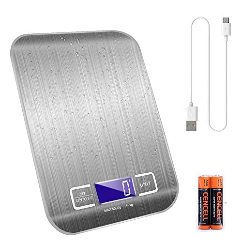 キッチンスケール 1.0g単位 デジタル計量器 高精度センサー デジタルクッキングスケール usb充電&乾電池両対応 電子スケール 精密電子秤 コンパクト (USB充電式)