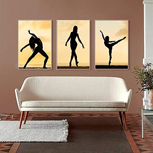 Póster de yoga para mujer, carteles e impresiones en lienzo, imágenes de fitness, arte de pared, pintura geométrica minimalista, sala de estar nórdica, decoración del hogar / 40x60cmx3 (sin marco)