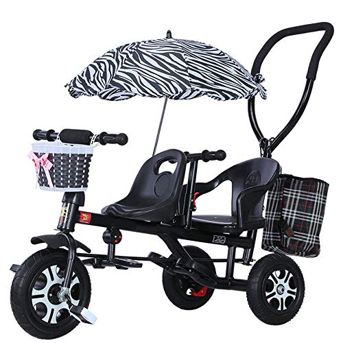 FLYFO Kinder-Dreiräder Von Hand, Tandem-Kinderfahrräder, Fahrräder, Leichte Kinderwagen Mit Sonnenschirmen, Kinder-Dreiräder,Schwarz