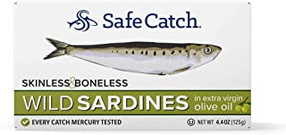 Wild Sardines, Skinless & Boneless, Packed in Extra Virgin Olive Oil, Mercury Tested, 4.4oz (Pack of 12) (Packed in Extra Virgin Olive Oil)