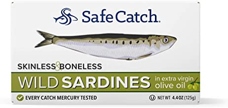 Wild Sardines, Skinless & Boneless, Packed in Extra Virgin Olive Oil, Mercury Tested,..