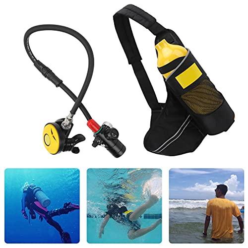 Kit de tanque de buceo, equipo de snorkel a prueba de polvo transpirable y duradero para actividades subacuáticas(Botella de oxigeno amarilla)