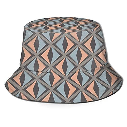 PUIO Sombrero de Pesca,Ilustración de Vector de Patrones geométricos sin Fisuras,Senderismo para Hombres y Mujeres al Aire Libre Sombrero de Cubo Sombrero para el Sol