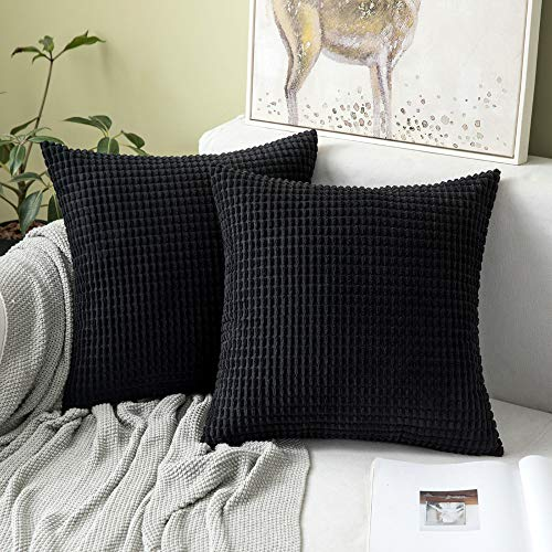 MIULEE Set of 2 Corduroy Soft Big Corn Solid Decorative Square Throw Pillow Covers Cushion Case For Sofa Bedroom 40 x 40 cm 16 x 16 Inch Granule Black