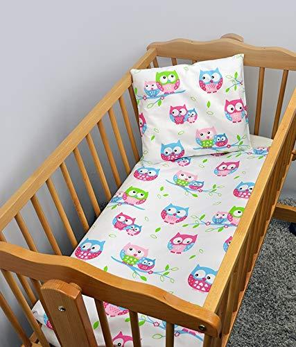 2 Stück Baby Kinder Quilt Bettdecke & Kissen Set 80x70 cm passend für Kinderbett oder Kinderwagen Muster 23