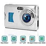 Digitalkamera Kompaktkamera 18MP Fotoapparat Digitalkamera 2,7 Zoll LCD-Bildschirm Fotokamera 8-facher Digitalzoom Vlog Kamera Günstig mit Makrofunktion für YouTube
