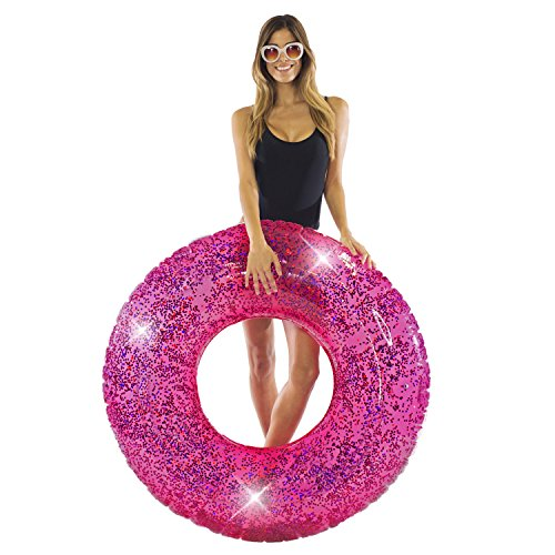 """PoolCandy Jumbo 48"""" Pink Glitter Swim Ring - Extra Large for The Pool Beach or Lake-Kids Teens Adults Glitter Inside Sparkles and Shines in the Sun - THE ORIGINAL GLITTER INFLATABLE TUBES AND FLOATS"""