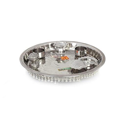 Hazel Gungroo Pooja Steel Thali S5, Silver