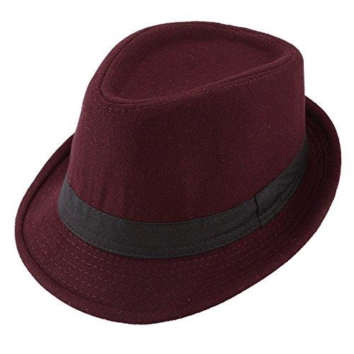 Unisex Classic Manhattan Fedora Hat with Black Band Fashion Casual Jazz Wool Cap (Wine Red)