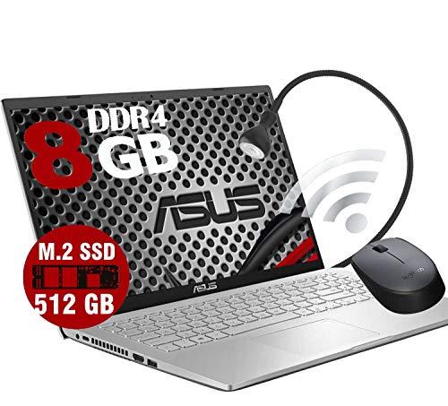 Notebook VivoBook Silver Portatile Pc Display 15.6  HD  Intel Dual Core N4020 2.80Ghz  Ram DDR4 8Gb  SSD M.2 512GB  Intel UHD Graphics 600  Hdmi Wifi  Windows 10 Pro Open Office  Mouse   Lampada USB
