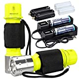 WishDeal 2 Pack Diving Flashlight Underwater LED Scuba Dive Lights Super Bright IPX8 Waterproof 3 Modes for Outdoor Activities with Rechargeable Battery and Charger