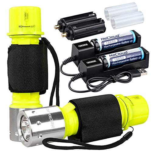 WishDeal 2 Pack Diving Flashlight Underwater LED Scuba Dive Lights Super Bright IPX8 Waterproof 3 Modes for Outdoor Activities with 18650 Rechargeable Battery and Charger