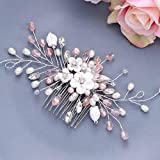 Vakkery - Peine para el pelo con flores de cristal plateado para novia, accesorio para el pelo de novia, para damas de honor