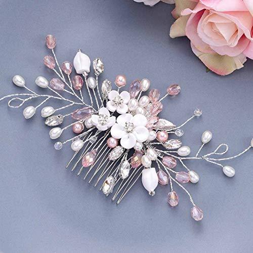Vakkery - Pettine per capelli da sposa, con cristalli argentati, accessorio per capelli da sposa, per donne e ragazze