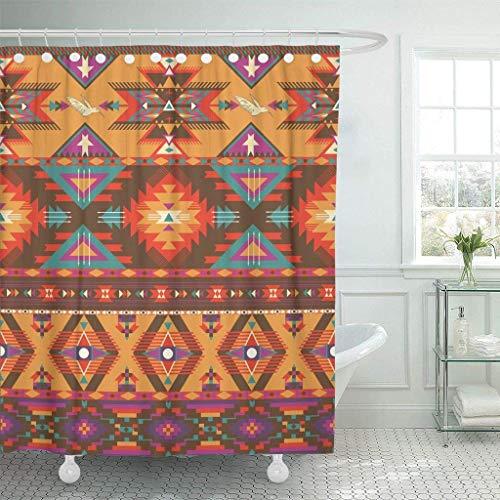 Stoff-Duschvorhang mit Haken Orange Amerikanisches buntes aztekisches Muster Native Navajo Geometric Indian Tribal Mexican Dekoratives Badezimmer Behandelt, um Einer Verschlechterung durch Mehltau zu