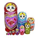 zdz Matryoshka de Madera, Juego de Juguetes para niños Hechos a Mano de 8 Pulgadas de 10 muñecas de anidación Rusa, Navidad, cumpleaños, hogar deseando Regalos (Color : Red)