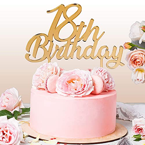Cake Topper 18 Anni per Torta Festa Compleanno 18 Anni Ragazza | Addobbi e Decorazioni Auguri Anniversario con Numero | Idea Regalo Birthday Torta Decorativa Diciottesimo (Oro)