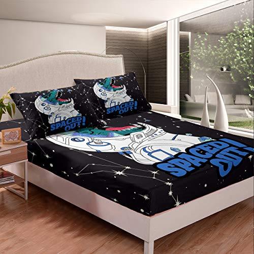 Juego de cama con 2 fundas de almohada, diseño de dinosaurio, color verde y negro