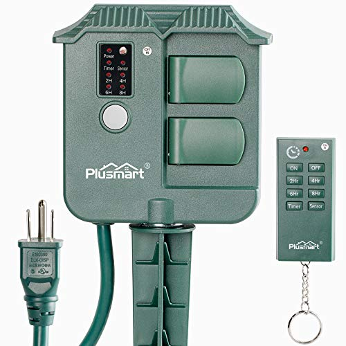 Plusmart Outdoor Power Stake Timer, Wireless Remote Control, Photocell Light Sensor, 6ft Extension Cord with Switch, 3 Waterproof Grounded Outlets with Cover, UL Listed