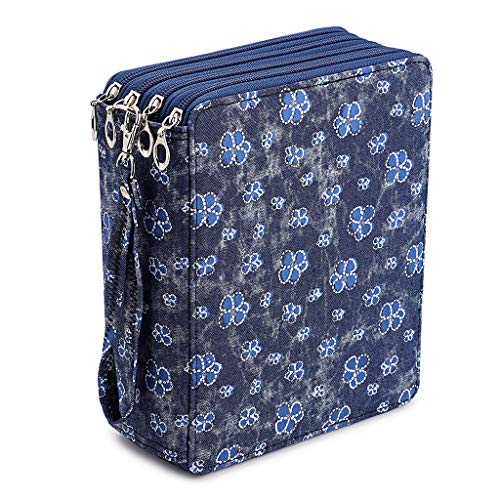 BTSKY Colored Pencil Case- 160 Slots Pencil Holder Pen Bag Large Capacity Pencil Organizer with Handle Strap Handy Colored Pencil Box with Printing Pattern Blue Flower