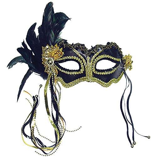 Black/Gold metallic satin eye mask (máscara/careta)