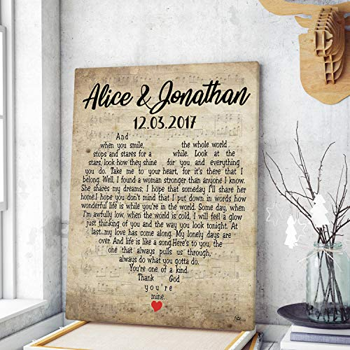 Personalized Custom Name Date First Dance Wedding Anniversary Song Lyrics Canvas Prints Wall Art Birthday Christmas Engagement Couple Hanging Poster Home Decor