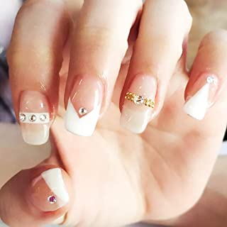 Drecode French False Nails Bling Rhinestone Full cover Square Fake Nails Wedding Birthday Party Clip on Nails for Women and Girls(24Pcs)
