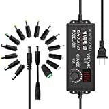 JOVNO Universal Power Supply 3V-24V 2A 48W Adjustable AC/DC Adapter 100~240V AC to DC 5V 9V 12V 15V 19V 20V with LED Display 14 Plugs 1 Reverse Polarity Converter Cable for LED Strips Motors Speaks