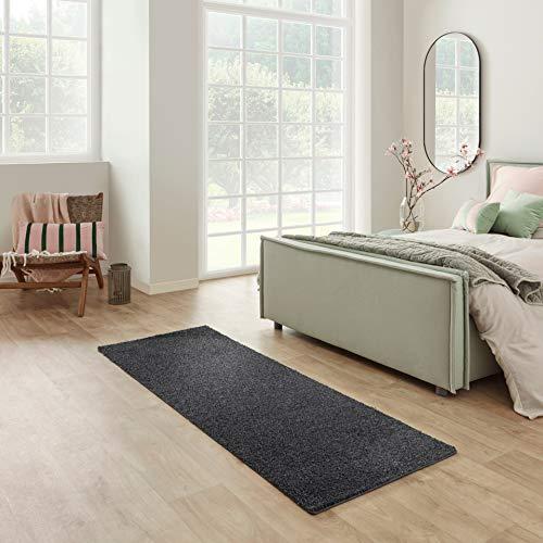 Carpet Studio Santa Fe Läufer Flur 67x180cm, Teppich Läufer für Schlafzimmer, Küche & Flur, Einfach zu Säubern, Weiche Oberfläche, Kurzflor - Schwarz