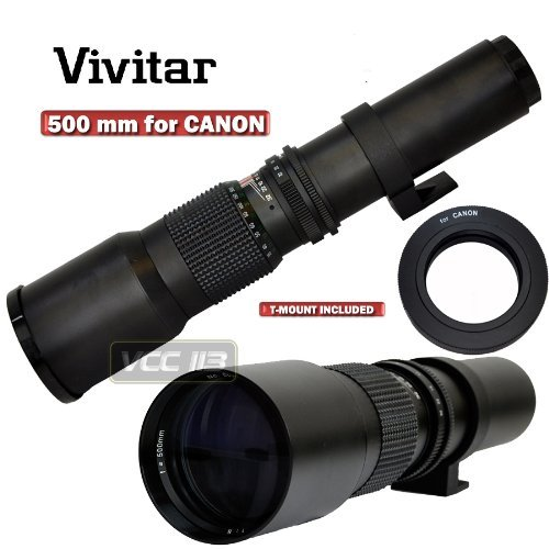 VIVITAR Lens 500MM PRESET F8.0 for Canon EOS Digital Rebel T4i T3i T2i 60Da 7D XT XTi XSi XS T1i