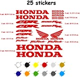 Kit Pegatina Adhesivo Moto Vinilo 7 años Troquelado Compatible con Honda CBR 600 RR Contiene 25 Pegatinas (Rojo)