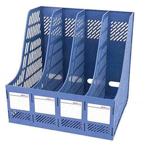 XGQ Organizador de escritorio de 4 secciones para suministros de oficina, accesorios de escritorio para clasificar estanterías (negro) (color azul)