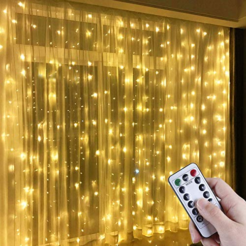 Pttengcheng Fairy LED Curtain Lights - 300 LED Warm White Window String Lights with Remote Control, 3m x 3m 8 Modes USB Powerd Starry Lights for Christmas, Party, Wedding, Bedroom Decoration