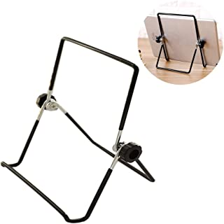 IWTF 1 Pack Iron Display Stand,Adjustable Metal Display Stand Easel Foldable Tablet Stand Holder,Displaying Photos,Cookbooks,Decorative Plates,Book Displays and More.(Black) (Black, 7 inch)