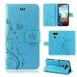 betterfon LG K40S Hülle Handy Tasche Handyhülle Etui Wallet Hülle Schutzhülle mit Magnetverschluss/Kartenfächer für LG K40S Blume Blau