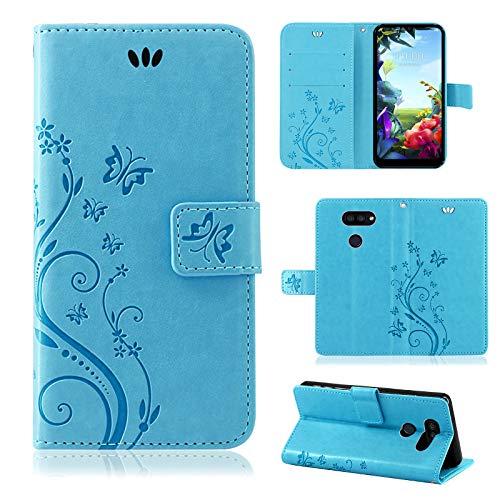 betterfon |LG K40S Hülle Flower Hülle Handytasche Schutzhülle Blumen Klapptasche Handyhülle Handy Schale für LG K40S Blau