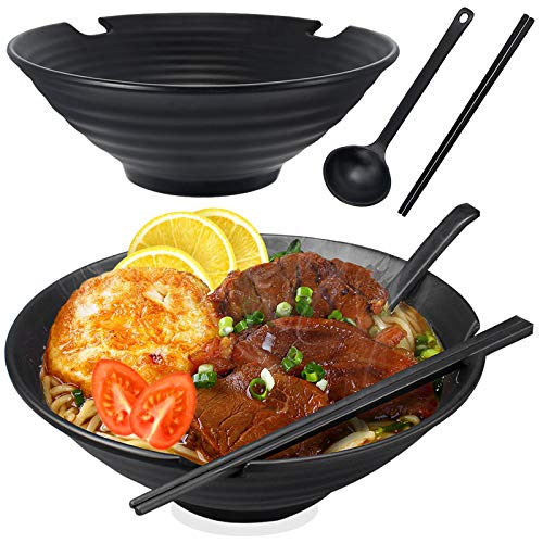 2*Cuenco Ramen Japones, 1000ml/9in Grande Cuencos Japoneses Plastico Cerámica de Imitación Bol Bowl Cocina Ensaladera Tazón de Sopa, con Cuchara y Palillos