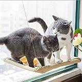 GPR 猫 窓用 ハンモック 吸盤タイプ 窓枠座り台 取り付け簡単 耐荷重(約15kg程度) 54×32cm 猫用品 (ベージュ)